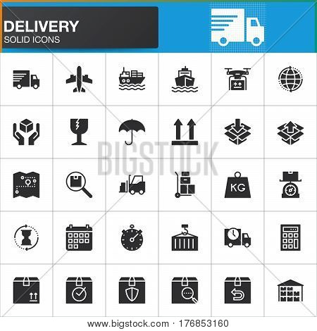 Delivery and logistics vector icons set modern solid symbol collection filled style pictogram pack. Signs logo illustration. Set includes icons as shipping transportation tracking parcel weight