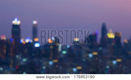Night blurred light big city office building business downtown abstract background