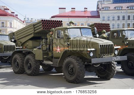 SAINT PETERSBURG, RUSSIA - MAY 05, 2015: Fighting vehicle BM-21-1 (MLRS