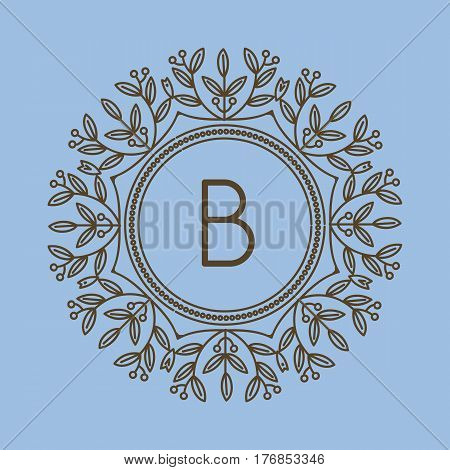 Monogram B logo and text badge emblem line art vector illustration luxury template flourishes calligraphic leaves elegant ornament sign. Flourish outline decoration frame border with letter.