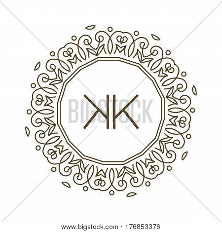 Monogram K logo and text badge emblem line art vector illustration luxury template flourishes calligraphic leaves elegant ornament sign. Flourish outline decoration frame border with letter.
