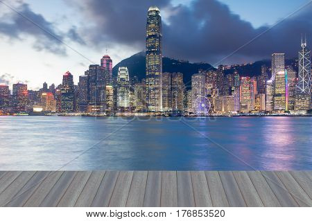 Opening wooden floor Hong Kong centrial business downtown at twilight view