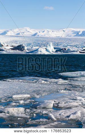 Frozen lake locate in Jokulsarlon glacier lagoon Iceland winter season landscape