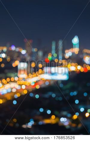 Abstract blurred bokeh city of Bangkok business downtown night view