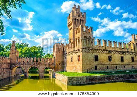 Bologna castle Minerbio blue sky landmark emilia romagna italy