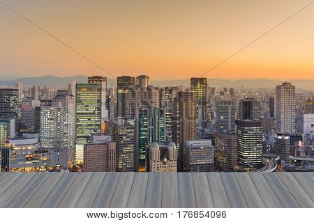 Opening wooden floor City office building central business downtown Osaka Japan