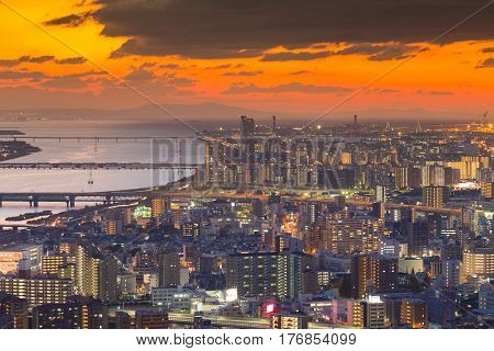 Beautiful sunset sky aerial view Osaka city business downtown cityscape background