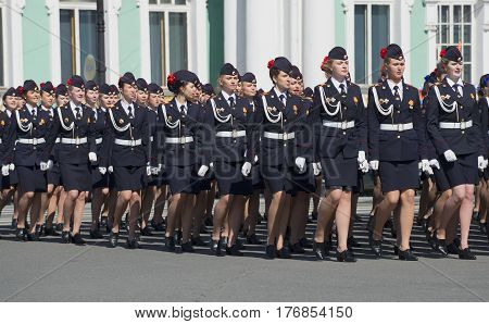 SAINT PETERSBURG, RUSSIA - MAY 05, 2015: Girl cadets of the police Academy at the rehearsal of the Victory parade