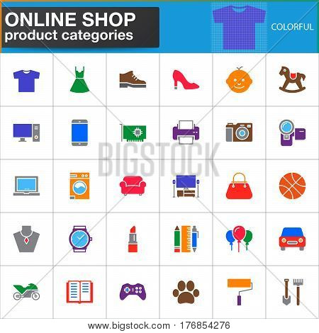 Online shop product categories vector icons set modern solid symbol collection filled colorful pictogram pack. Signs logo illustration. Set includes icons as clothes shoes computer electronics