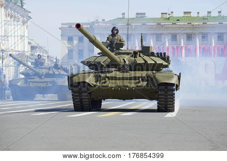 SAINT PETERSBURG, RUSSIA - MAY 05, 2015: T-90 tank at the rehearsal of the Victory parade