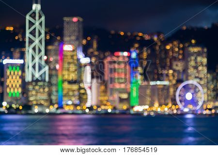 Blurred light night view Hong Kong city business downtown abstract background
