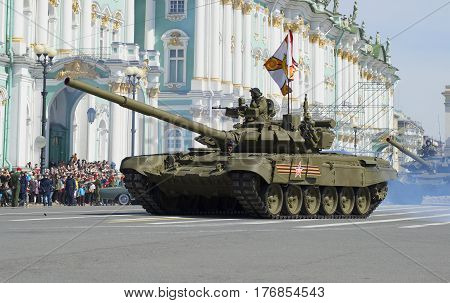 SAINT PETERSBURG, RUSSIA - MAY 05, 2015: T-90 tank closeup. Rehearsal of the Victory parade in St. Petersburg