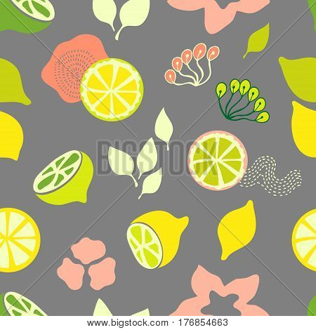 Seamless vector pattern with citrus fruits, leaves and flower. 1950s-1960s motifs. Retro textile collection.