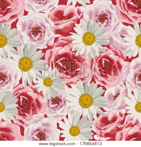 Seamless pattern with white daisies and pink roses. Vector illustration.