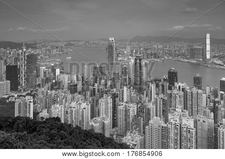 Black and White Hong Kong city downtown aerial view over the bay