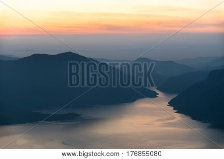 Mae Ping river view point. Mountain and lake at sunrise.