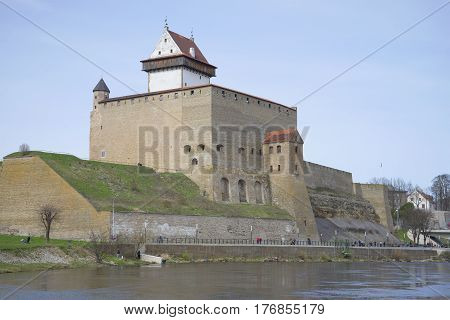 View of the Herman's castle. April day. Narva, Estonia