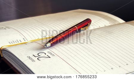 The pen lies on an open notebook. Horizontal format. Indoors. Color. Photo. Without people.