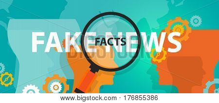 fake news or facts alternative find truth press problem online vector