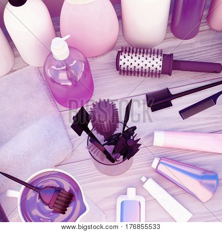 Combs hair dye and professional cosmetics for hair located on a wooden table. 3D illustration