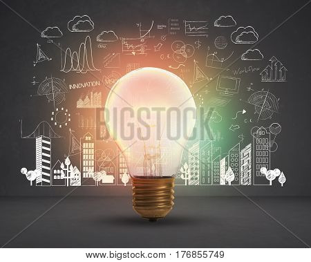 lightbulb. concept for new ideas with innovation and creativity.
