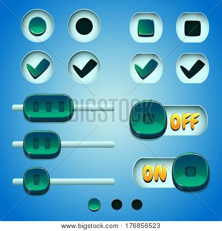 Turquoise buttons set. GUI and UI elements