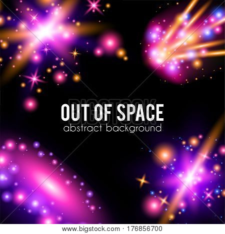 Galaxy abstract background with sparkling pink and purple, glitter and rays lights, copyspace for greeting card