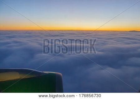 Beautiful sunset in large clouds, nature, sky