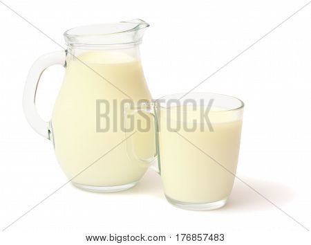 Glass jug pitcher of fresh milk with glass isolated on white background carafe