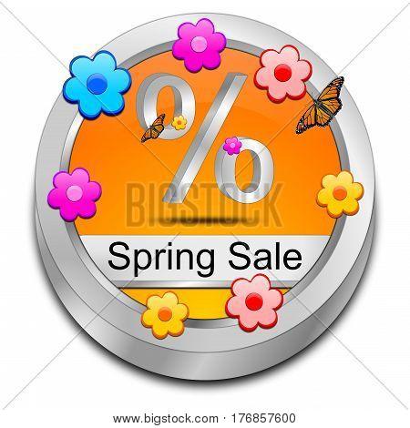 decorative orange Spring Sale Button - 3D illustration