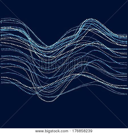 Abstract river water concept. dynamic emitted particles array. Blue dots and spot vector Illustration. Modern geometry luxury design for card, header, web-banner, wallpaper.
