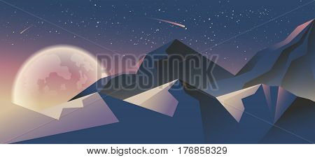 Stock vector illustration horizontal background mountain landscape in flat style at night, stars, big full moon snow-capped peaks design element for print, printed materials, site header, brochure