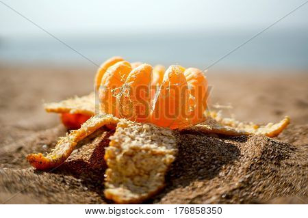 Opened Mandarin lies on the sand. The orange decomposed into slices on blurred background sea and beach