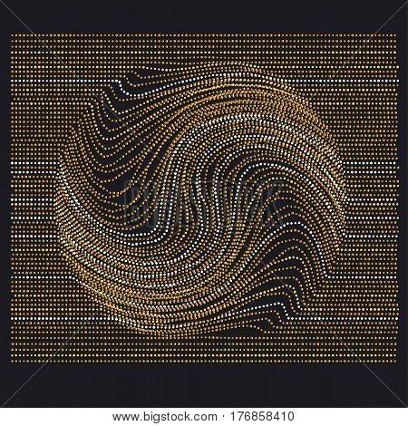 line and dot concept minimalistic geometry surface design. abstract modern background with drop movement trace in gold luxury style