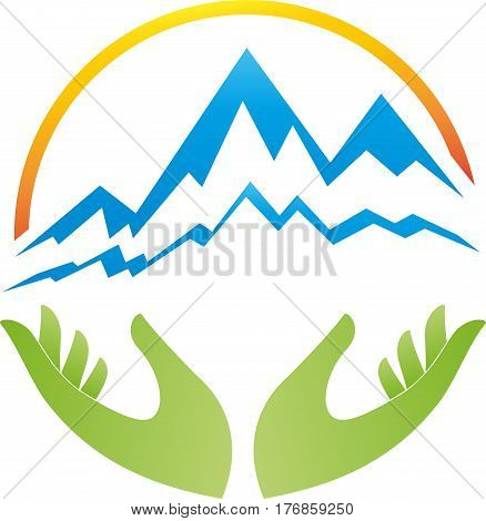 Two hands, mountains and sun, sports and travel logo