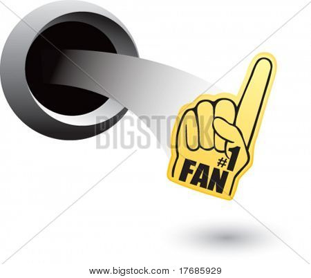 number one fan foam hand coming out of hole