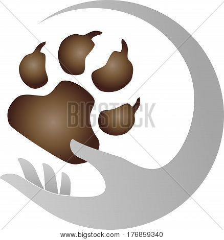 Hand and paw, dog paw, animal keeper and dog logo
