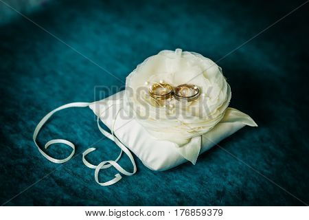 Composition of luxury wedding golden rings on flower and dark background