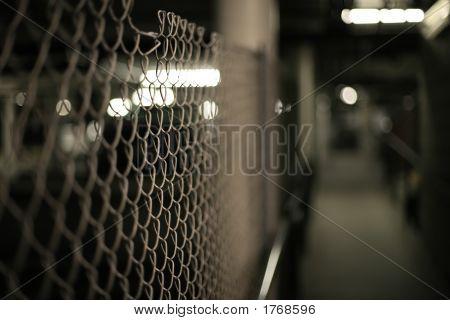 Mesh Fence In An Underground Garage Structure