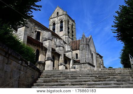 Auvers sur Oise France - august 14 2016 : the Notre Dame de l Assomption church