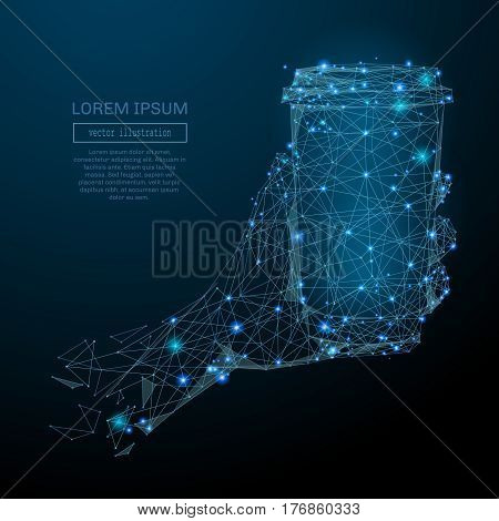Abstract image of a hand holding coffee in the form of a starry sky or space, consisting of points, lines, and shapes in the form of planets, stars and the universe. Vector business wireframe concept.