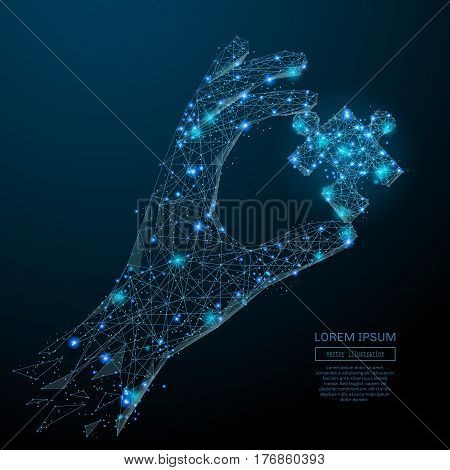 Abstract image of a hand holding puzzle in the form of a starry sky or space, consisting of points, lines, and shapes in the form of planets, stars and the universe. Vector business wireframe concept.