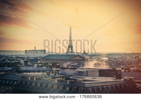 Paris, France - September 24, 2013: Beautiful View On Eiffel Tower And City Landscape
