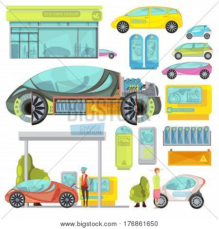Big colorful flat set of eco electro cars and charge stations isolated on white background vector illustration