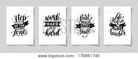 set of four hand written lettering positive inspirational quote posters about life A4 format, modern calligraphy vector illustration collection