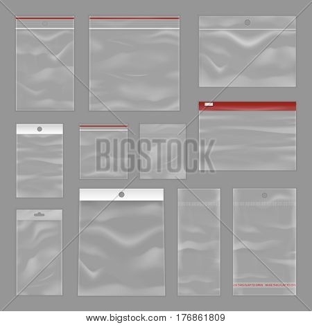 Clear plastic reusable reclosable and resealable zipper pocket bags collection on grey background realistic vector illustration