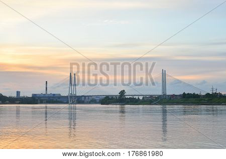 Cable-stayed bridge at sunset in St.Petersburg Russia.