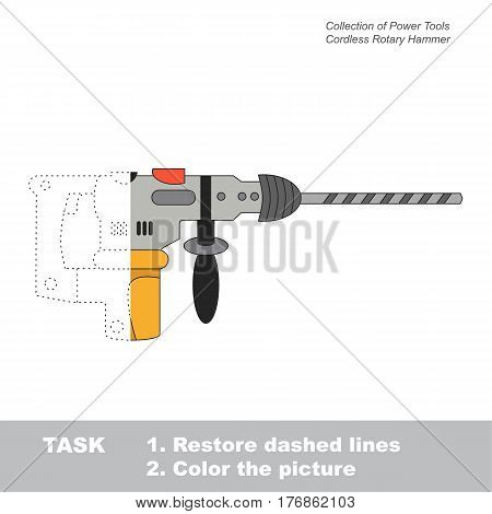Cordless Rotary Hammer in vector to be traced. Object from collection of engine tools. Restore dashed line and color the picture. Easy educational kid gaming with simple level of difficulty.