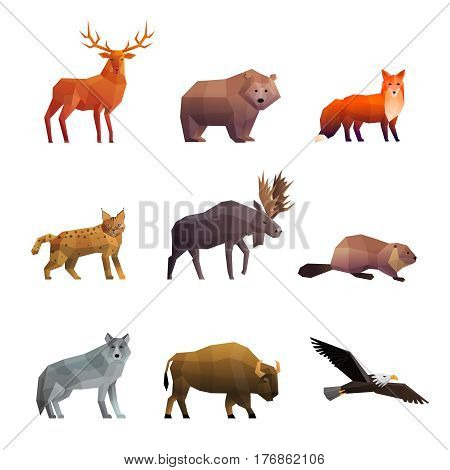 Wild northern animals 3d colorful polygonal icons set with wolf fox bear and eagle isolated vector illustration