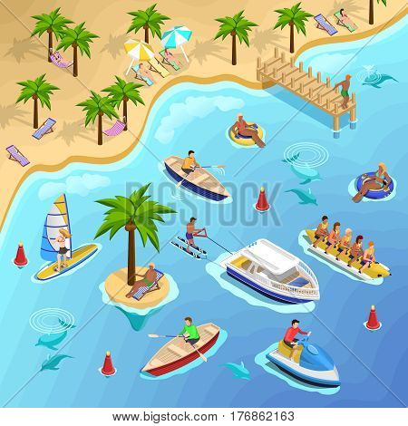 Sea beach vacation isometric composition with tropical landscape and people sunbathing sailing surfing and banana boating vector illustration